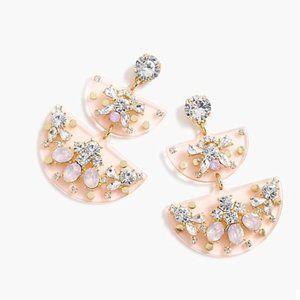 🔥NWT JCrew Half Moon Tiered Crystal Earrings